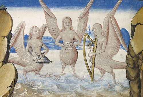 sirensVincent de Beauvais, Miroir Histoire (Speculum Historiale), Ghent ca. 1475. Getty, Ms. Ludwig XIII 5, V1, fol. 68v
