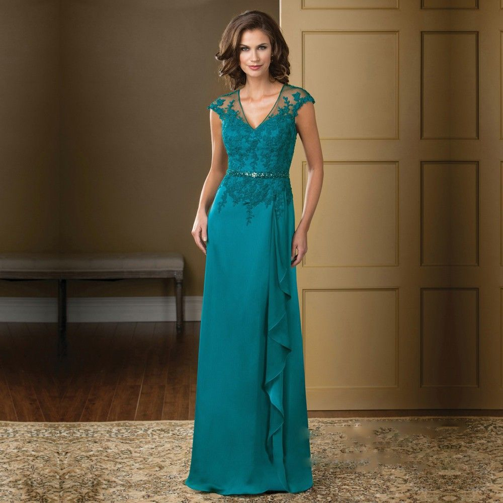 Click to Buy << Turquoise Mother of the Bride Dresses Applique Lace ...