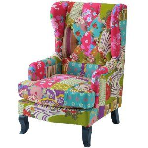 childrens patchwork wingback chair amazon co uk kitchen home