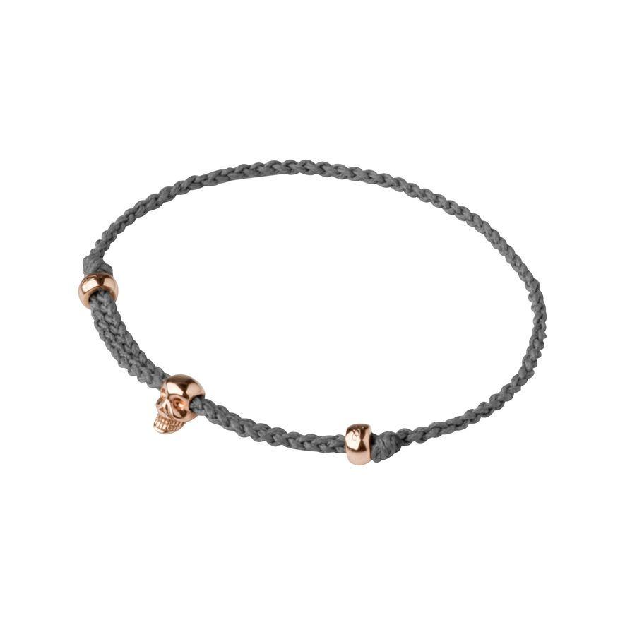 Rose Gold Vermeil Mini Grey Skull Cord Bracelet, Links of London Jewellery
