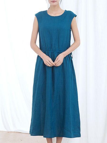 Blue Shirred A-line Casual Midi Dress