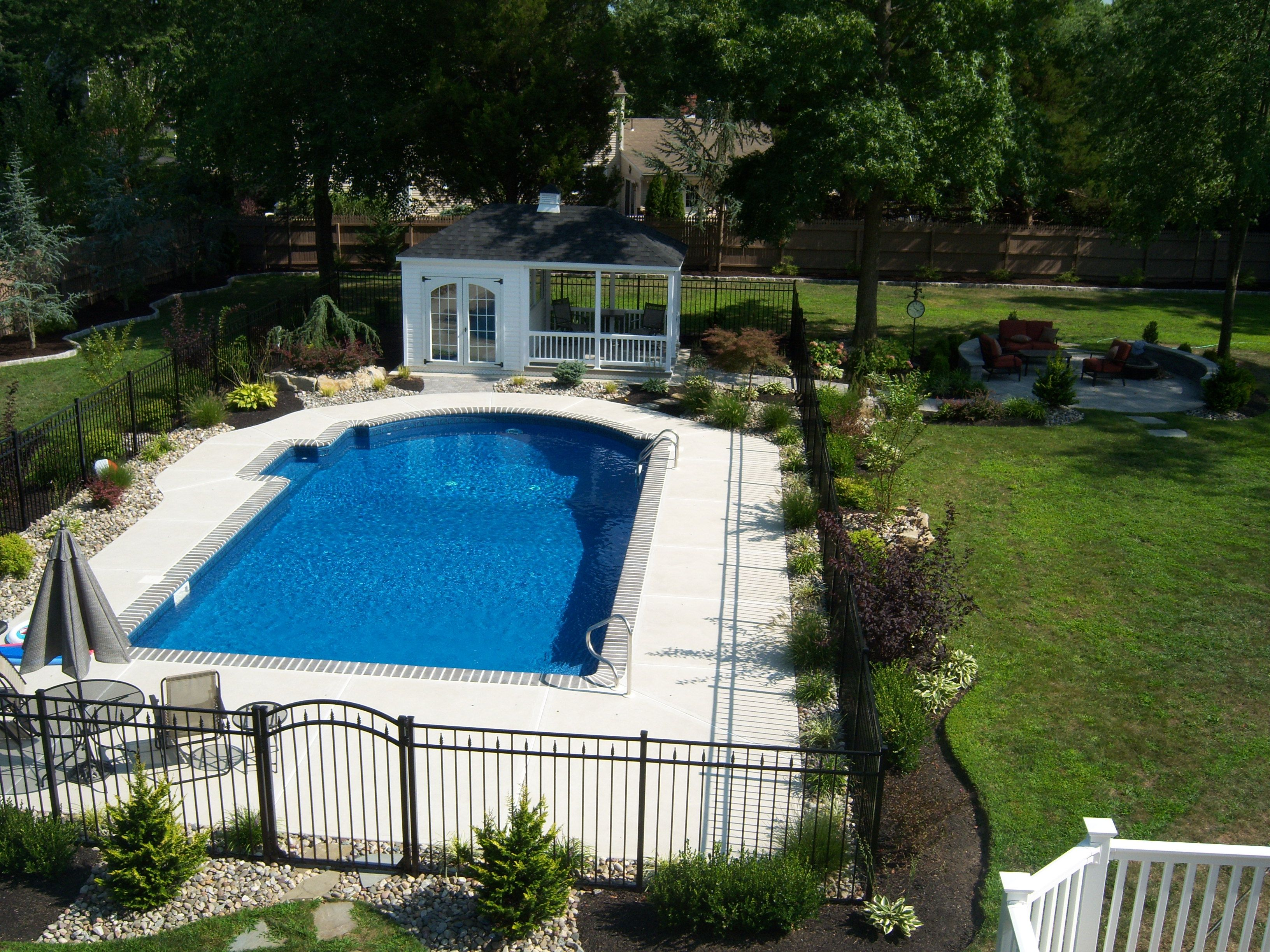 Rectangular Pool Landscape Designs landscaped pool pictures | and now that we're well into the spring