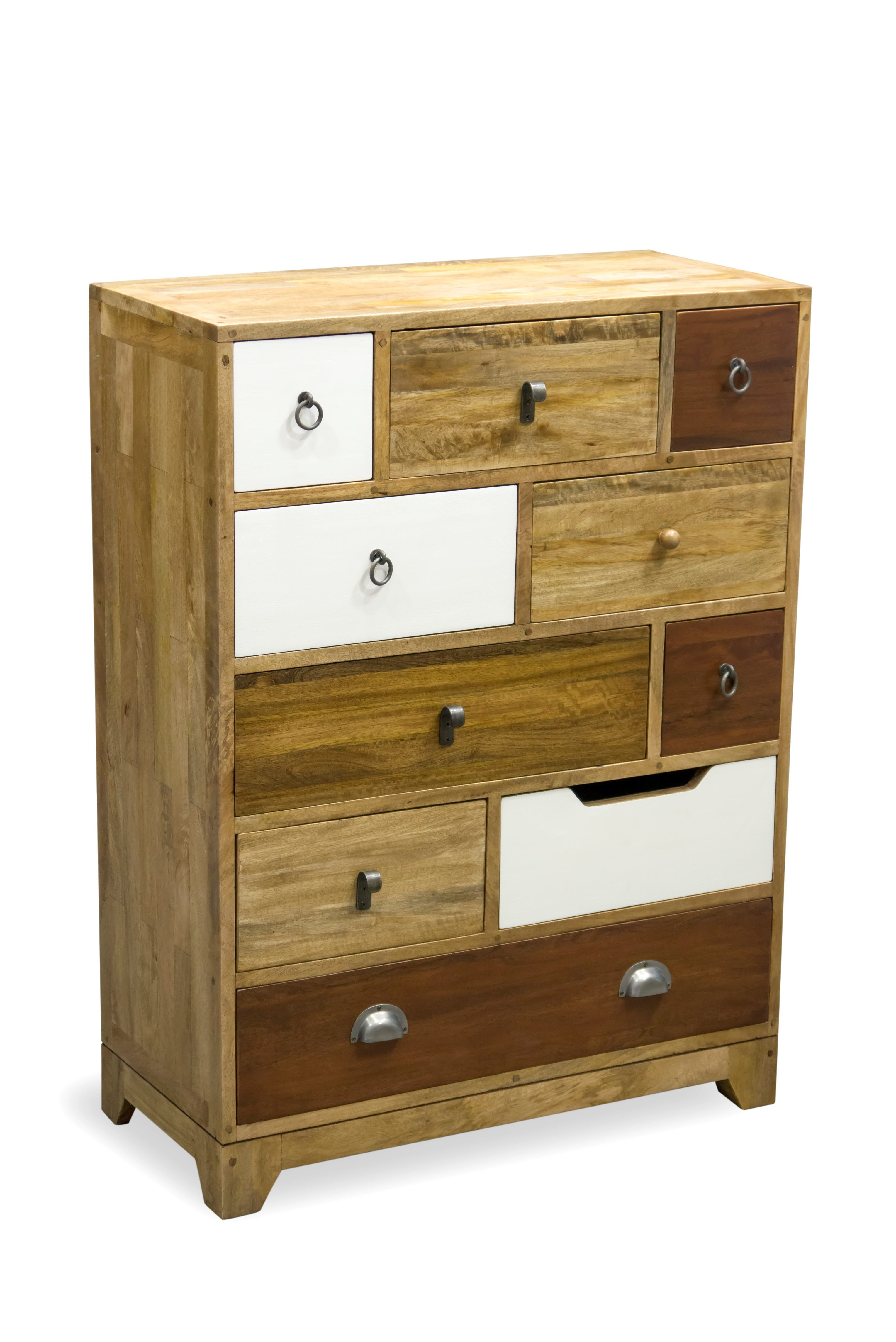 Vintage Neutral 10 Drawer Tall Chest Multicoloured chest