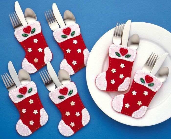 cute christmas silverware holders to brighten up your table - Christmas Silverware Holders