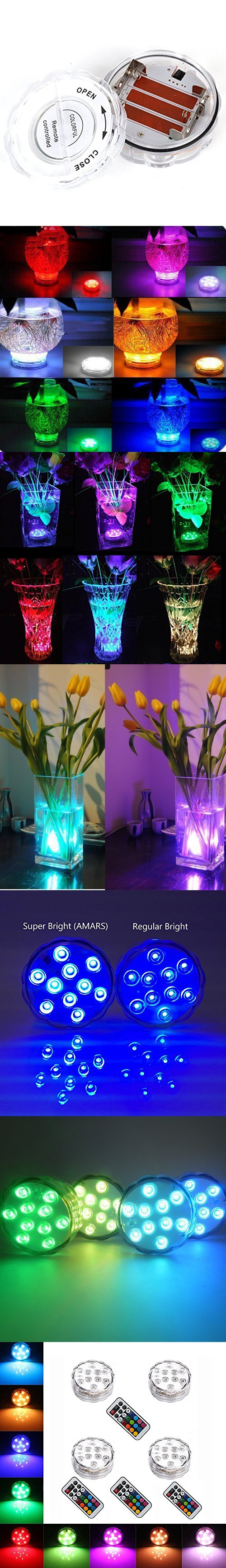 4PCS Remote Controlled RGB Submersible LED Lights AAA Battery Operated LED Decorative Lights for Lighting Up Vase, Bowl, Fish Tank, Wedding, Centerpiece, Halloween, Party Lights (4pcs LED)