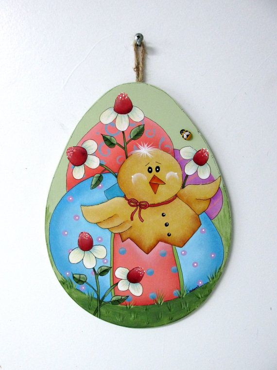 Easter Chick and Colored Easter Eggs, Spring Time Chick, Yellow Bumble Bee, Folk Art Painting, Tole or Hand Painted, Egg Shaped Wood Cut Out