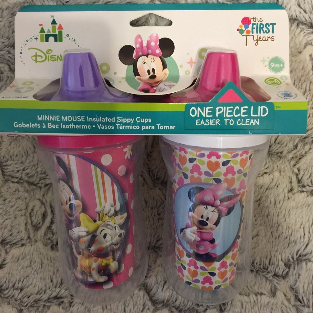 Toddler Sippy Cups 9 Ounce Pack Of 2 Insulated Bpa Free Minnie Mouse Cups New Toddler Sippy Cups Sippy Cup Sippy