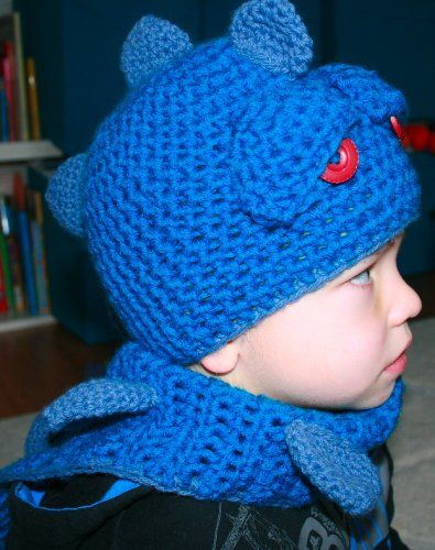 Crochet Pattern boy\'s dragon / dino hat with scarf, Includes 4 sizes ...