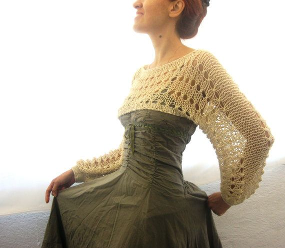 Cotton Summer Cropped Sweater Shrug in light beige color, hand ...