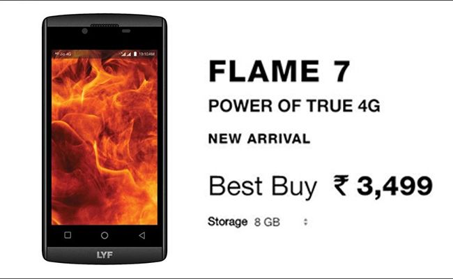 Reliance launched a pocket-friendly smartphone dubbed as LYF Flame 7s priced at Rs 3,499.