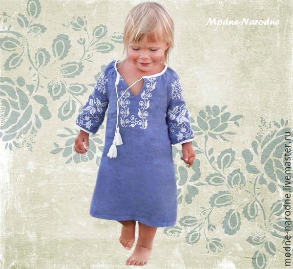 Купить Вышиванка для девочки ВОЛОШКА Платье в пол Детские вышиванки Бохо  шик - васильковый 96d1fd5b6e126