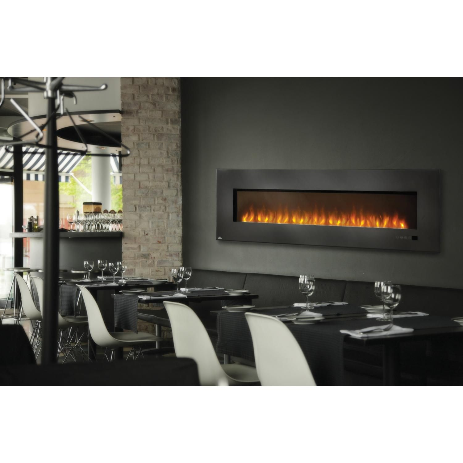 napoleon 72 inch wall mount electric fireplace with glass ember bed