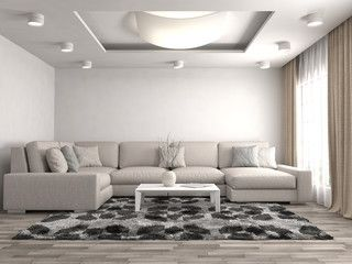 Ilustração: interior with sofa. 3d illustration