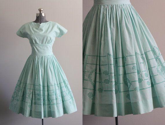 Vintage 50s Turquoise and White Gingham Print Dress w/ Shelf Bust S #vintage #vintagedress #1950s #1950sdress