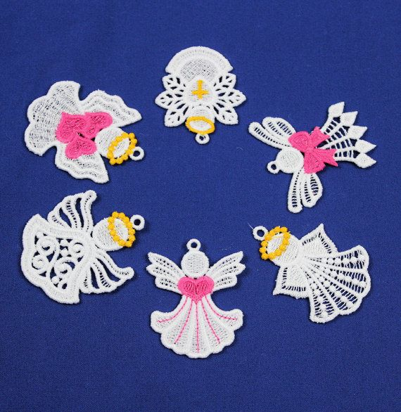 SIX Miniature Angel Christmas Ornaments Machine by QuiltSewLace, $22.00