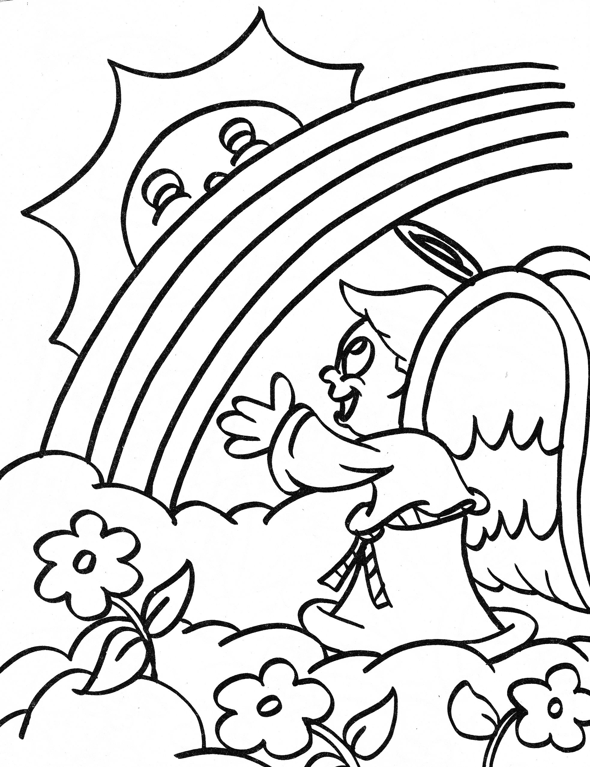 angel coloring page - boy angel and rainbow | Coloring pages scanned ...