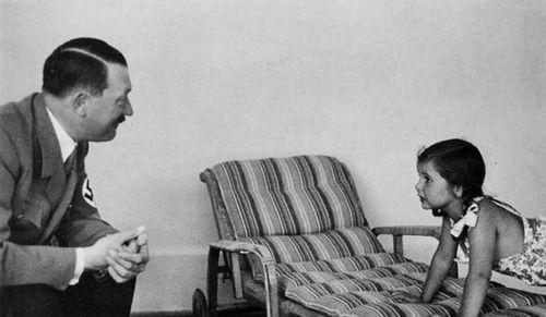 Adolf Hitler with Joseph Goebbels' eldest daughter, Helga.