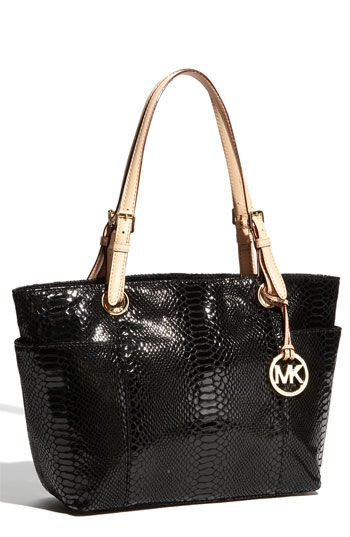 MICHAEL Michael Kors 'Jet Set' Python Embossed Patent Tote available at #Nordstrom