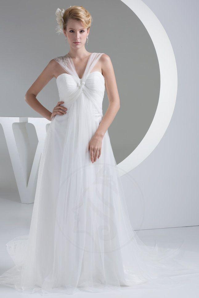 Tüll Gefaltet A-Line bodenlanges Brautkleid mit kreuz mit Drapierung ...