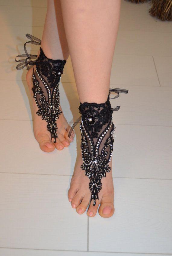 Black Beach Shoes Unique Design Lariat Sandals Wedding Bridal Bellydance Gothic