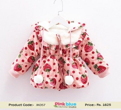 a7ca491d8 Handmade Baby Woolen Pullover - Designer Winter Coat, Baby Girls Strawberry  Printed Hoodies Jacket, Kids Winter Clothes, Toddle Outerwear Coat, Children  ...