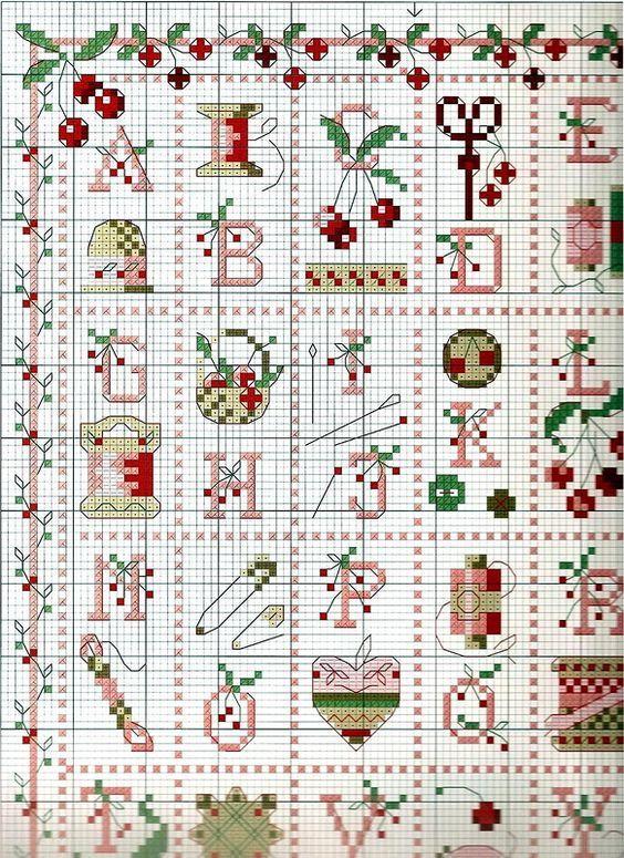 Alfabeto con motivos de costura navideños - 1a página del esquema