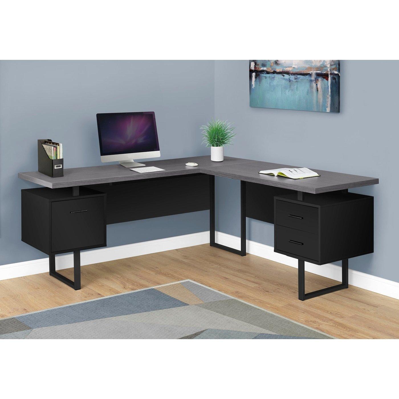 Black Grey Top Left Right Facing 70 Inch Long Computer Desk L