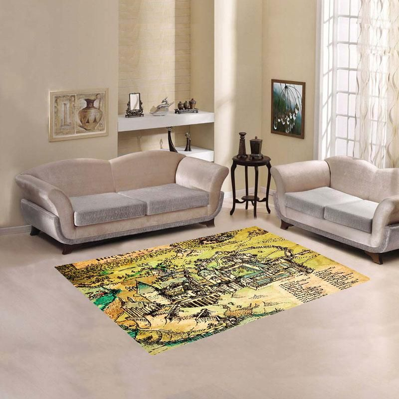 Harry Potter Hogwarts Map Living Room Carpet Rug Living Room