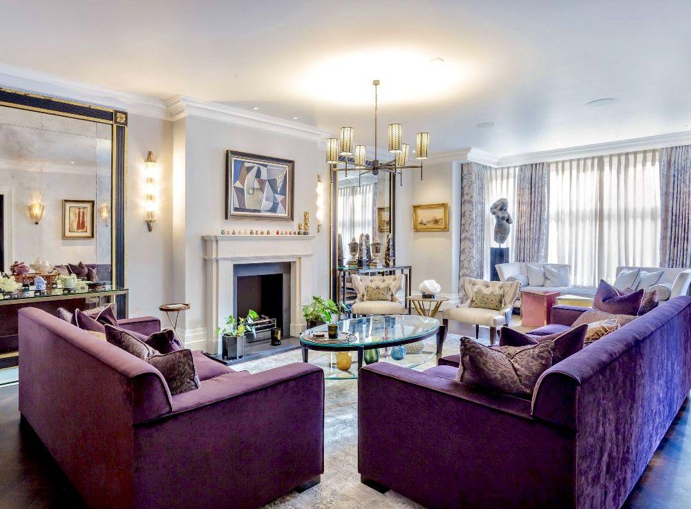 Purple living room decor purple velvet sofa | Luxury ...