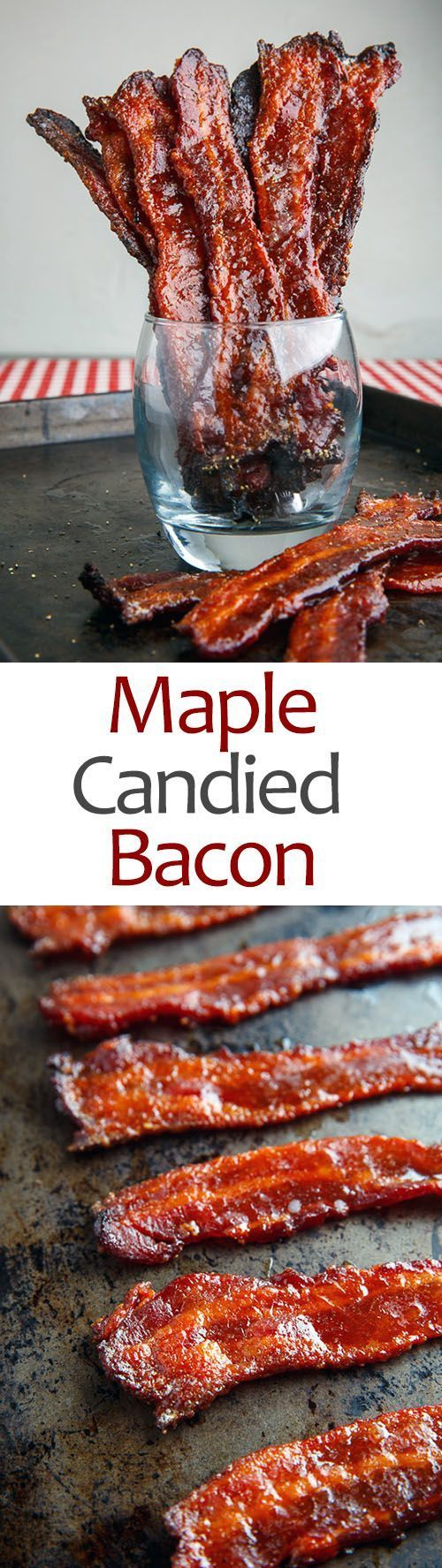 Maple Candied Bacon Recipe    Crispy maple and brown sugar candied bacon that is the perfect co