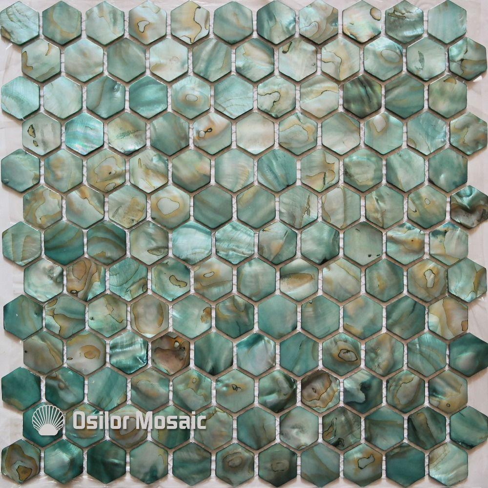 Gratis verzending geverfd groene kleur natuurlijke chinese zoetwater shell parelmoer moza ek - Rode mozaiek tegel ...