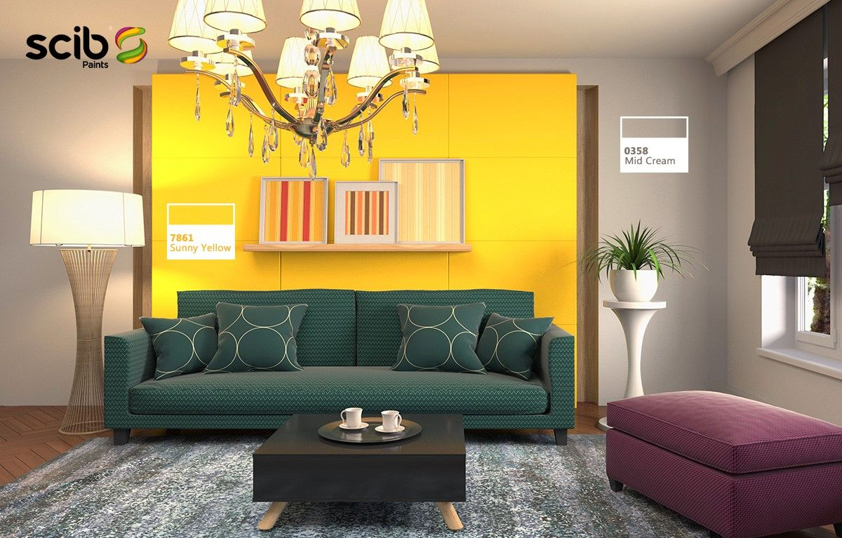 A Contemporary Interior Design With Sunny Yellow 7861 Wall Paint With Two Sides Of Mid Cream 03 Wall Color Combination Contemporary Interior Design Interior