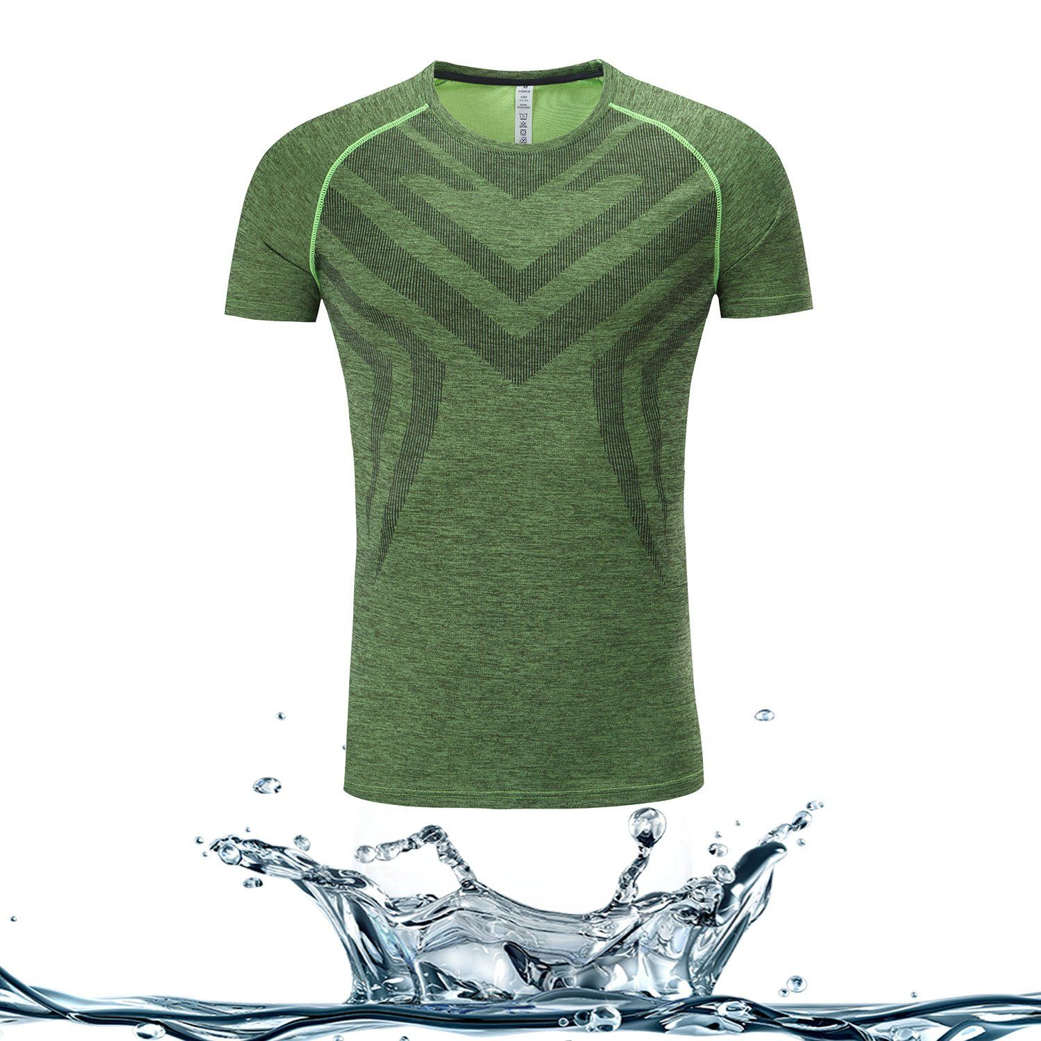 cd222ab3d Akilex Men's Tech Short Sleeve T-Shirt for Sports Running,Medium,Apple Green