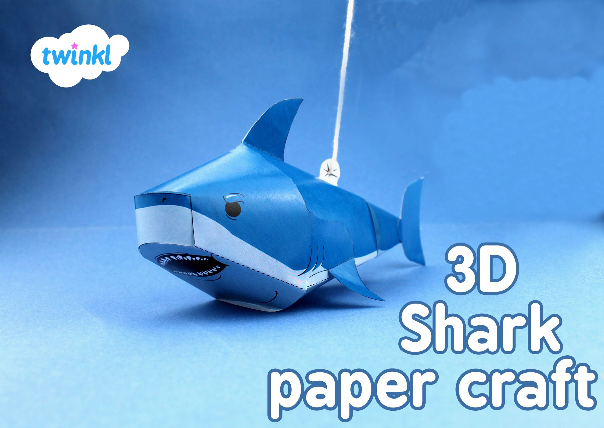 3d shark paper craft print out and make in time for shark week