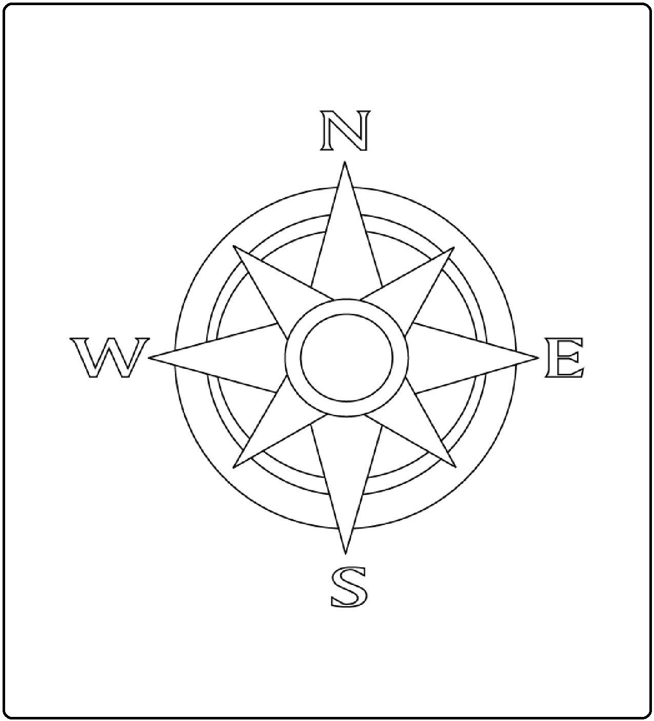 Het Kompas Rose Coloring Pages Compass Rose Nautical Compass