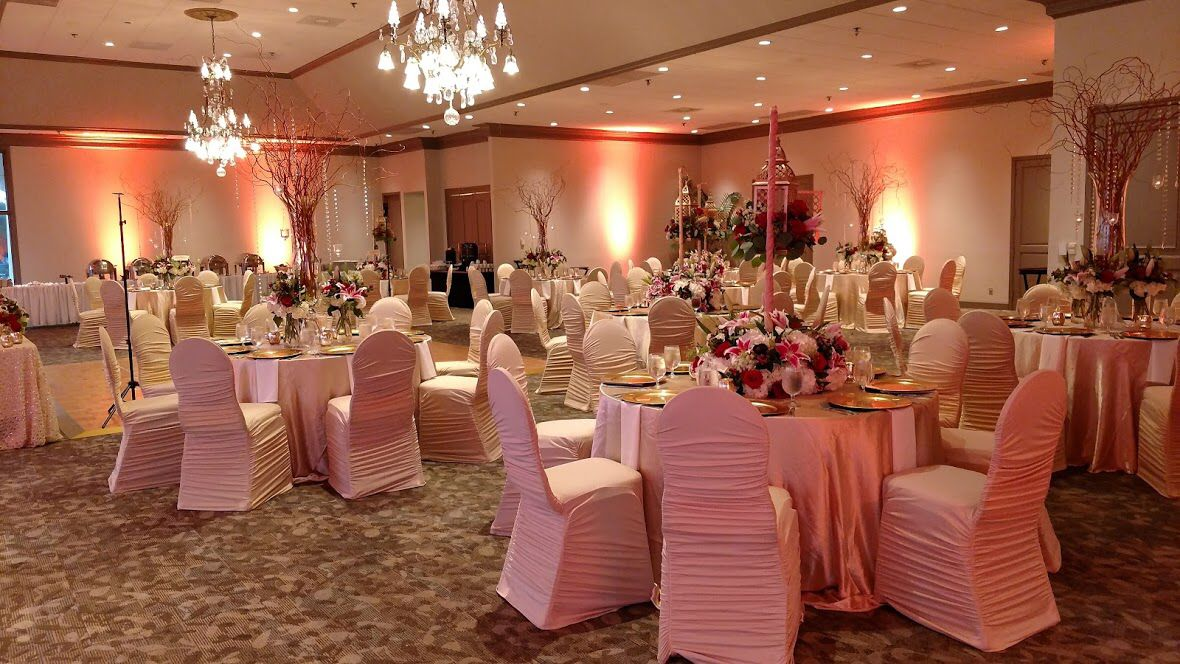 ruched spandex chair cover lift recliners indian fusion wedding reception with champagne covers linens and gold accents in the ballroom at sugar creek country club