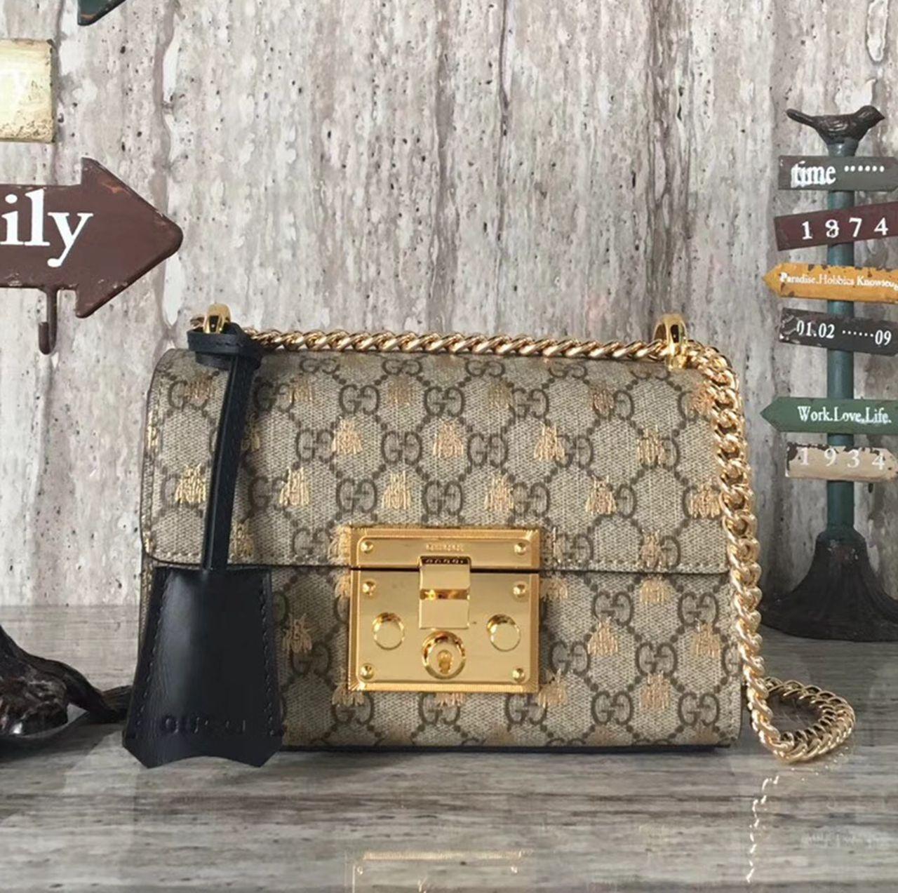 b2bbd4124c45 Gucci Padlock Small GG Bees Shoulder Bag 409487 2018 | Gucci 2018 ...