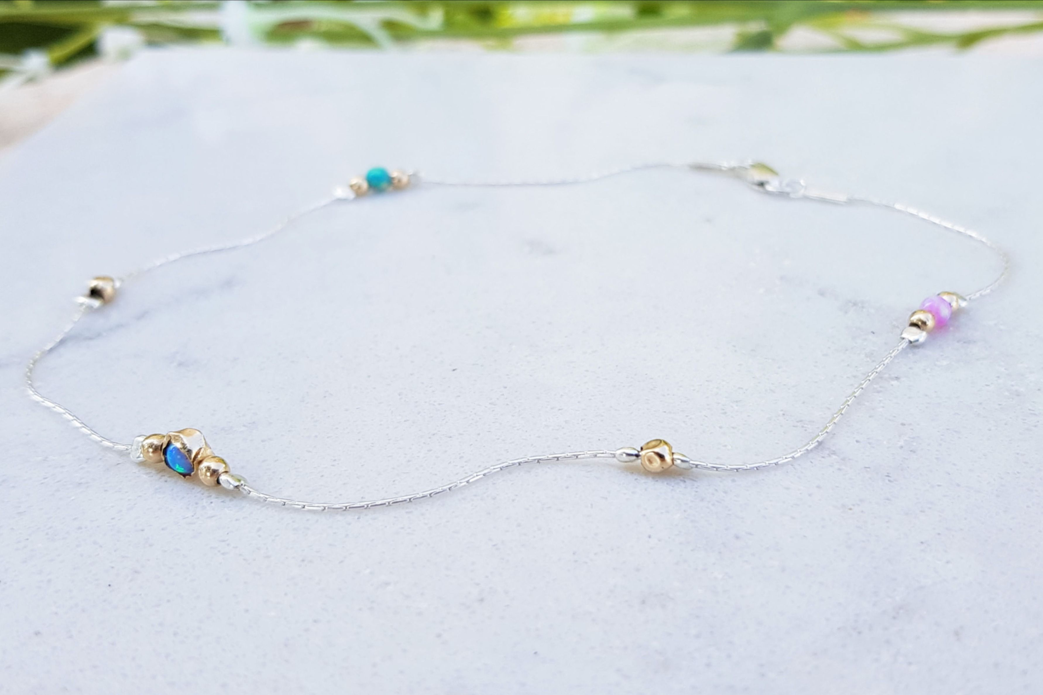 Dainty Turquoise Anklet,Beach Anklet,14k Gold Anklet,Pink,Blue Opal Bead Anklet,Ankle Opal Jewelry,Anklet Bracelet,Foot Jewelry Beach