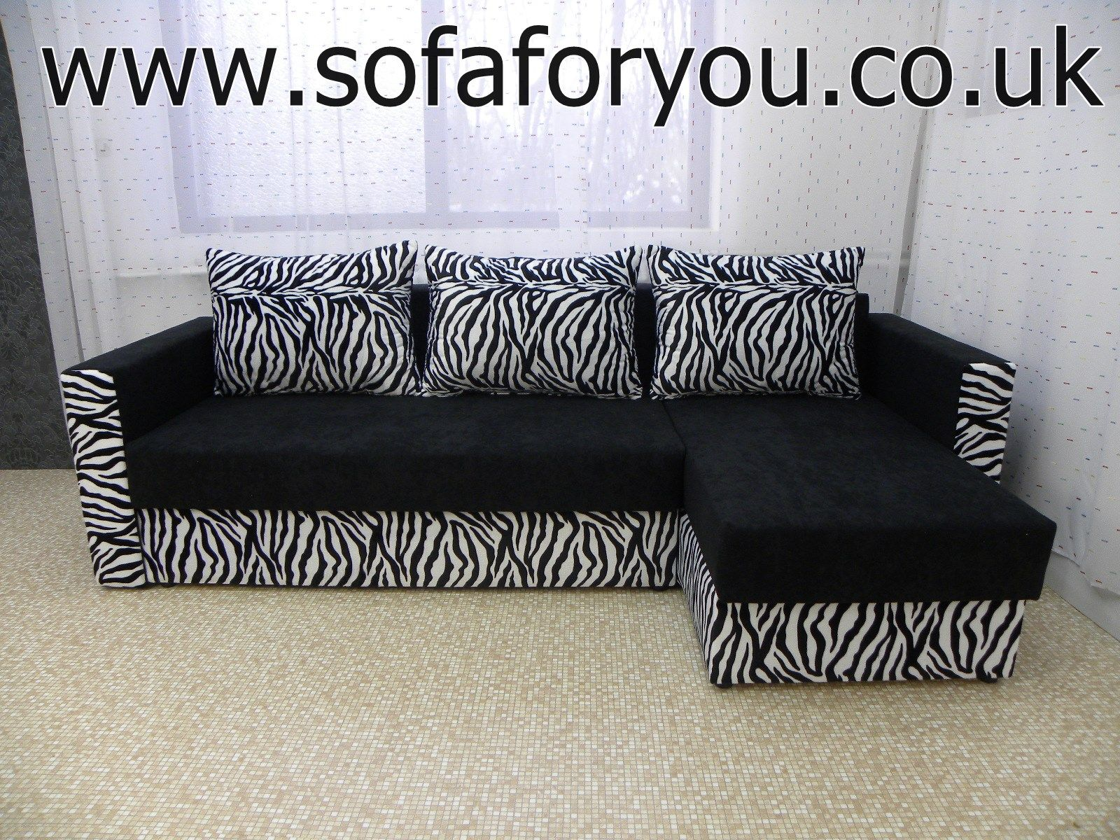 Chaise sofa bed Bristol BLACK ZEBRA two bedding storages