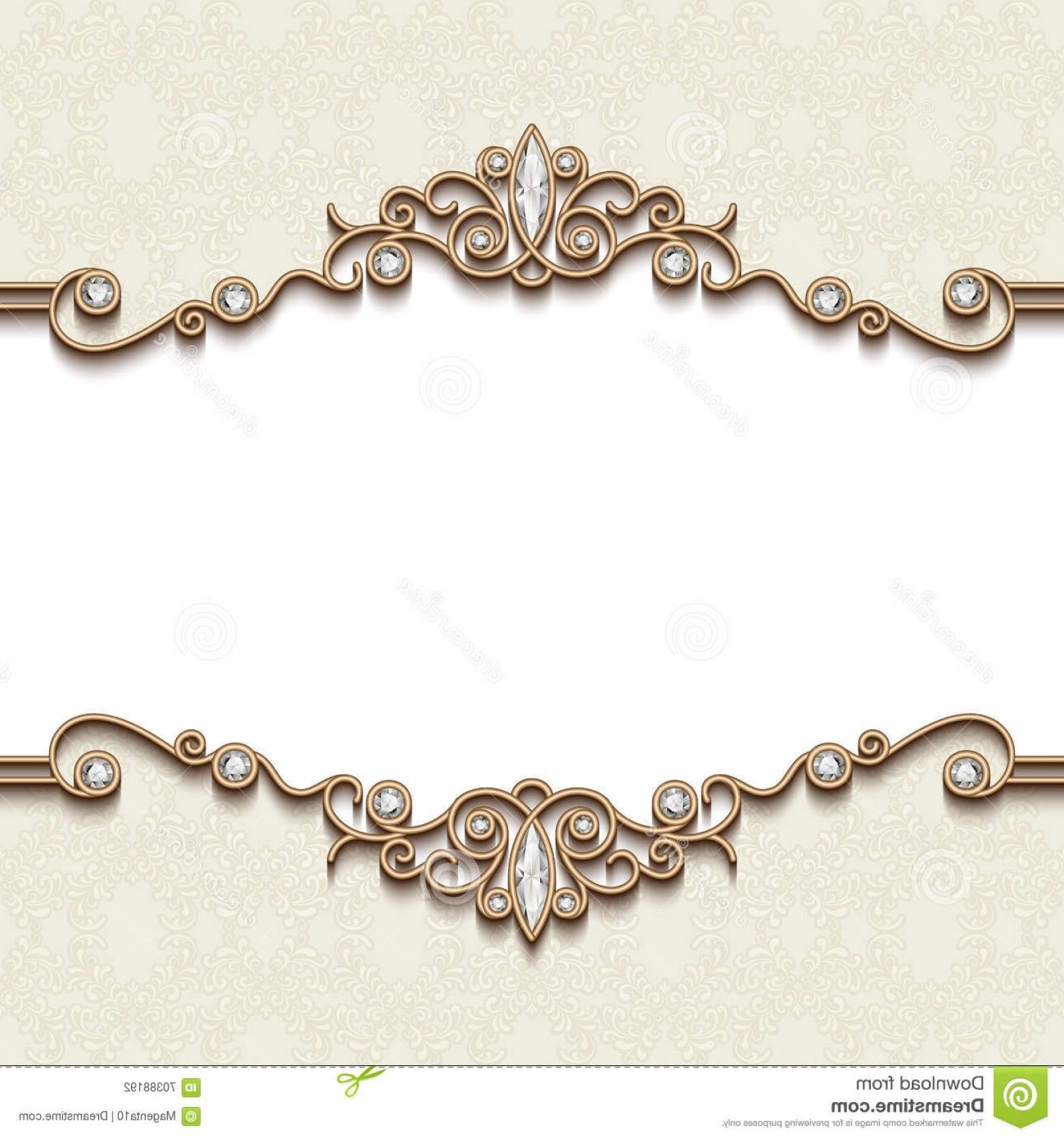 Elegant Gold Jewelry Stock Illustration Gold Jewelry Frame Vintage White Divider Element Elegant Backgr Background Vintage Floral Border Design Diamond Vector