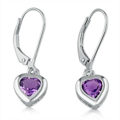 Sterling Silver Amethyst Heart Lever Back Earrings 1 50cttw