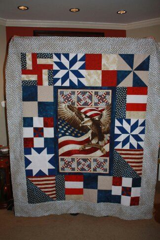 Quilt Of Valor Made Using Eagle Panel And Orphan Blocks