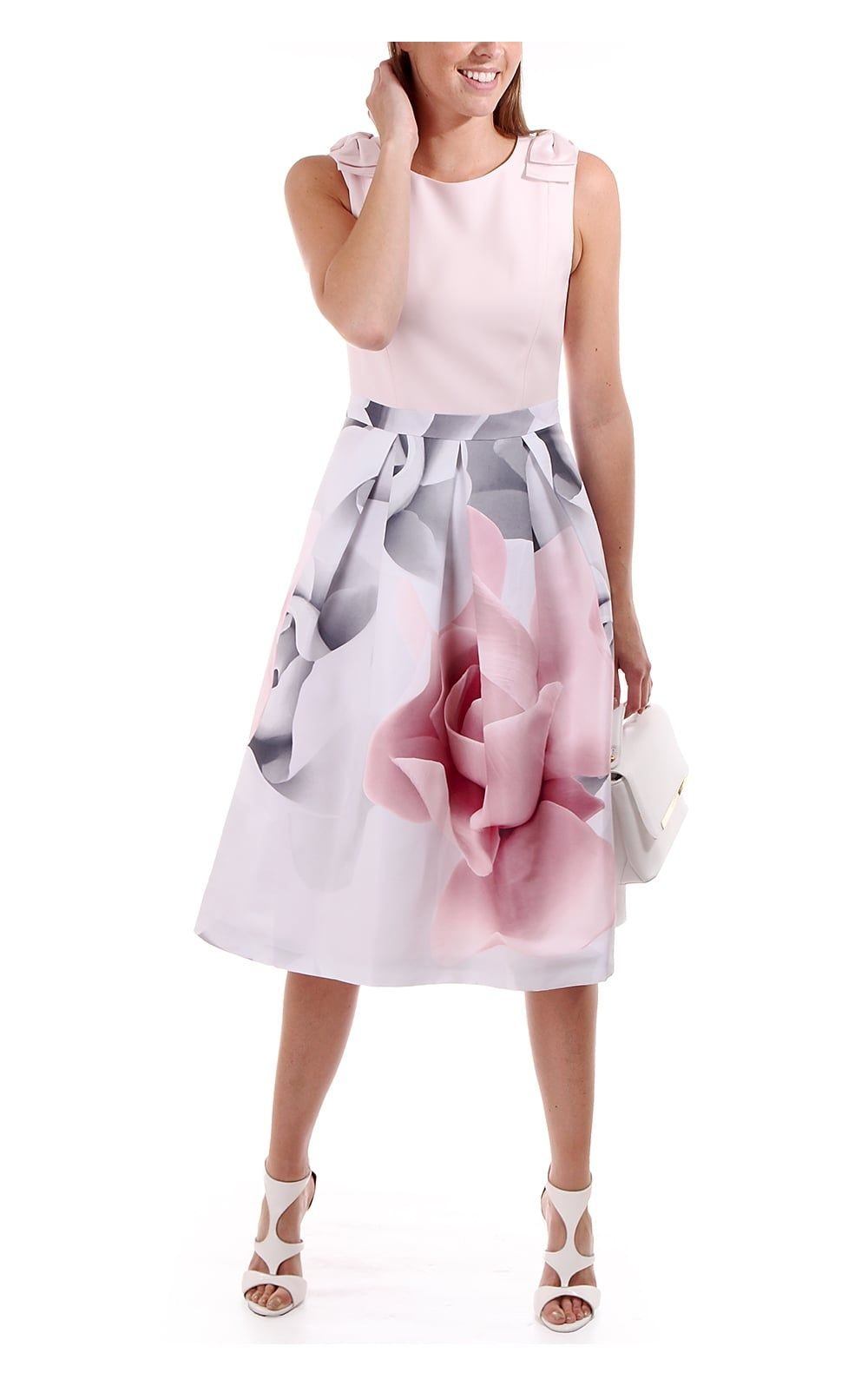 51a6cb2d2838e Ted Baker Womens Riina Porcelain Rose Bow Dress Ecru
