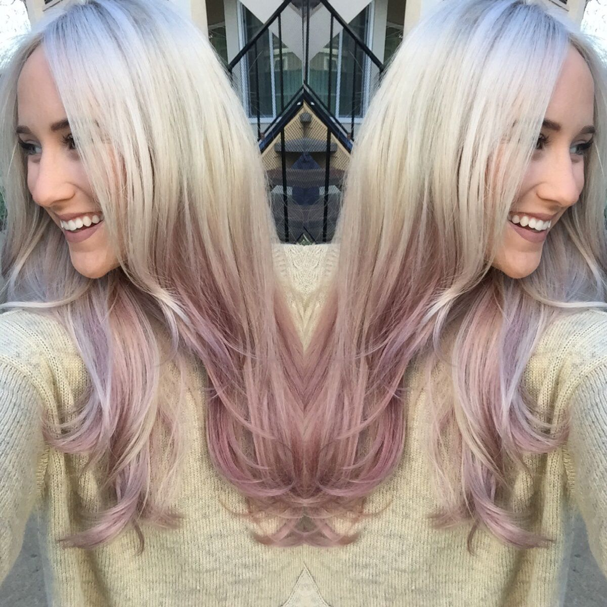 Rose Gold Dusty Purple Ombre Hair Long Blonde Hair With Purple