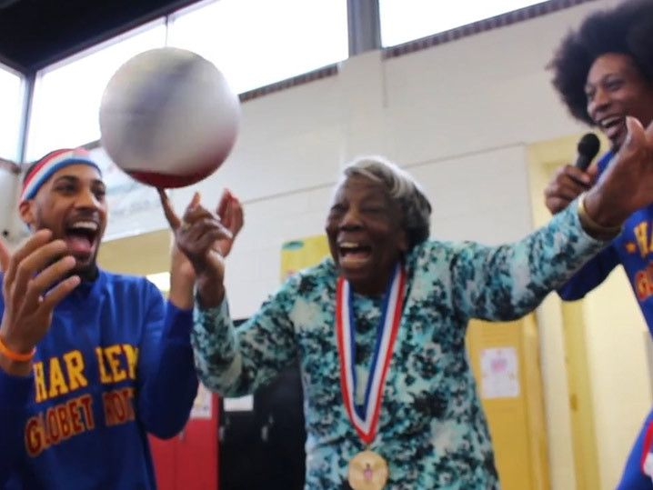 107-Year-old Woman -- Watch Me Spin This Basketball ... With the Globetrotters!