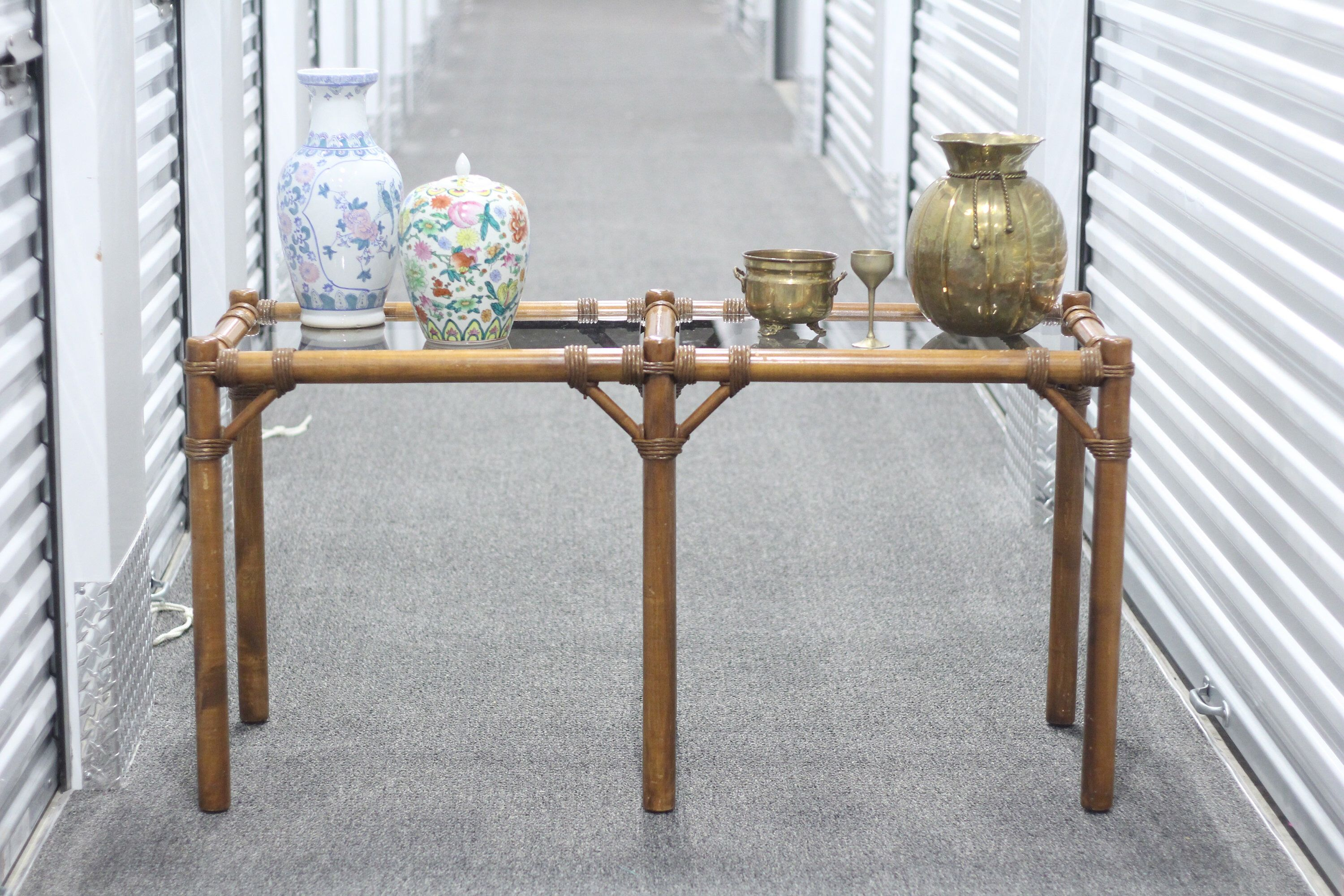 Photo of Vintage Console Table / Sofa Table With Glass / Bamboo Table / Boho Style Entryway Table