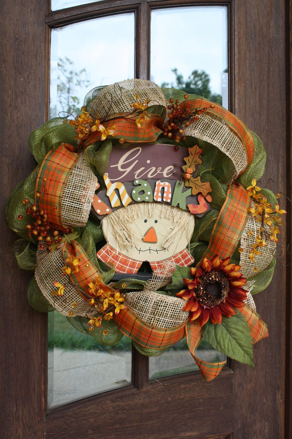 Give Thanks Fall Halloween Thanksgiving Autumn Mesh Wreath