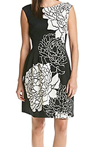 Vince Camuto Womens Cap Sleeve Floral Print Fit and Flare Dress BlackIvory 2 >>> You can get more details by clicking on the image. (This is an affiliate link and I receive a commission for the sales)