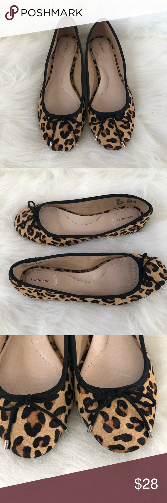 af448bfdfb6e Lands' End Leopard Cheetah Pony Hair flat Lands' End Leopard Cheetah Pony  Hair flat. NWOT, new without tag, pony hair leopard cheetah print flats  rubber ...