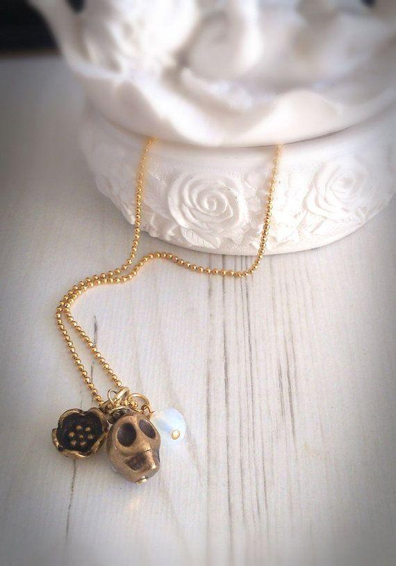 Sugar skull necklace day of the dead dia de los by VonFrida